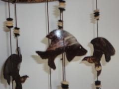 Kokosnoot windgong 6-lijn vissen