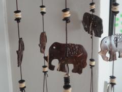 Kokosnoot windgong 6-lijn olifanten
