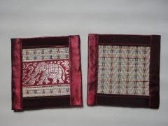 Placemats en onderzetters riet set 6_rood