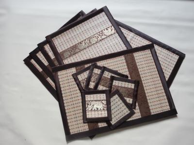 Placemats en onderzetters riet set 6_bruin